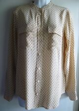 EQUIPMENT FEMME 100% SILK NUDE BLUSH ANCHOR PRINT BUTTON DOWN SHIRT SZ S