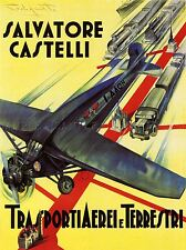 TRAVEL TRANSPORT VEHICLE PLANE TRUCK TRAIN LAND AIR ROUTE ITALY POSTER LV4494