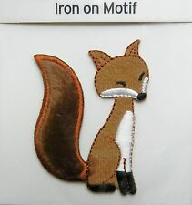 FLUFFY TAIL FOX IRON ON APPLIQUE MOTIF PATCH, BRAND NEW