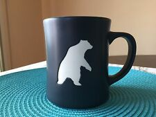 2012 Starbucks Yukon Bear Etched Black & Blue 16oz Coffee Mug EUC