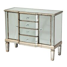 Venetian Mirrored & Distressed Antique Silver Door & Drawers Sideboard Cabinet