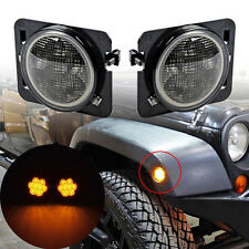 Smoked Amber Parking Side Marker LED Lights Front Fender For 07-15 JEEP WRANGLER