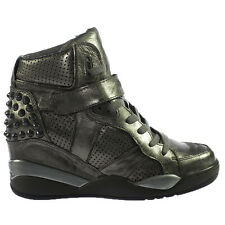 Ash Freak Donna Scarpe HIGH TOP SNEAKERS ALTA ZEPPA PELLE ARGENTO turn scarpa mis. 39