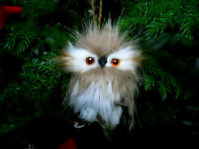 Furry Feather Brown White & Black Owl Branch Ornament