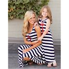 Casual Family Mother Daughter Dress O-neck Cotton Summer Long Striped Dresses