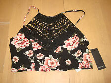 FOREVER 21 WOVEN HALTER CROP TOP SIZE MEDIUM/ BLACK/ MULTI