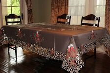 "Large Embroidered Tablecloth 72x144"" CutworkTable Topper Holiday Home Decor"