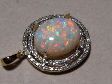 Large 5.7 ct High Dome Red color  White Opal & Diamond 14k Yellow Gold Pendant