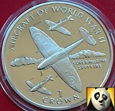 1995 ISLE OF MAN 1 One Crown SPITFIRE Aircraft of WWII Silver Proof Coin