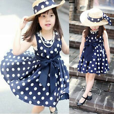Baby Kids Girls Party Silk Bow Polka Dot Solid Casual Dresses Sundress 5-6Y