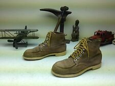 MADE IN USA BROWN SUEDE LEATHER PACKER FARM CHORE STEEL TOE WORK BOOTS 8-8.5 D