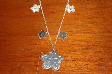 A06 Creaciones Zilver 925 Silver Swing Chain with Silver Star Flower Pendants
