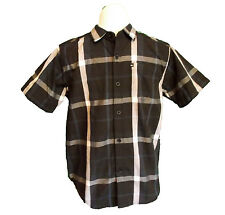 Quicksilver Plaid Shirt Size M(8) Short Sleeve Button Down Front