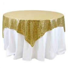 "Sequins Table Overlay 54""X 54"" Sparkly Tablecloth 4 Colors Wedding Cake Made USA"