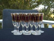 7 Culver Cranberry & Gold Cordial Glasses Hollywood Regency Mid Century Modern