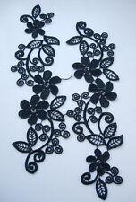 VT111 Black Venise Venice Lace Applique L&R Pair Floral Motif Sew On