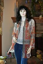 NEW SOFT SURROUNDINGS SHEER PAISLEY FLOWING CATHERINE TOPPER SMALL