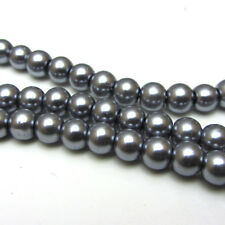 New 6MM 100pcs Charm Round  Beads Glass Spacer Pearls Gray Color