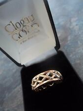 Clogau Early Welsh 9ct Rose & Yellow Gold Celtic Weave Ring h/m 2003 -  Size W