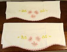 Pair of 2 Embroidered Pillowcases w/ Crocheted Lace Trim ~ PINK FLOWERS