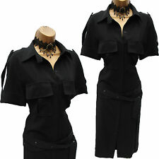 Exquisite KAREN MILLEN 40's Black Jersey Shirt Style Cocktail Wiggle Dress 10 UK