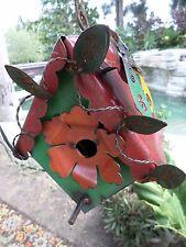 Mexican Folk Art Recycled Distressed Metal Yard Garden Art Flower Bird House