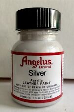 Angelus Silver acrylic leather paint 1 oz. bottle