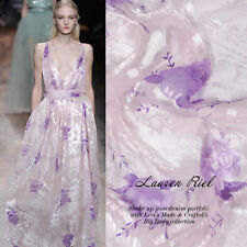 BURN-OUT SILK(75%) CHIFFON FABRIC SOFT LILAC FLORAL BY THE METER 097