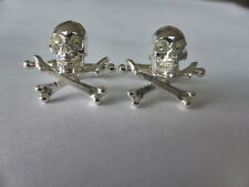 sterling silver skull and cross bone cufflinks uk made