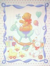 Baby Panel Heart Background with Bear on Rocking Horse COTTON FABRIC  NEW * CUTE