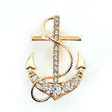 Unique Big Anchor Pin Brooch Use Austria Crystal 4cm x 2.5cm