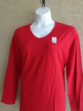 NWT Just  My Size L/S V Neck Sure Shape Cotton Jersey Tee Top  Red 1X