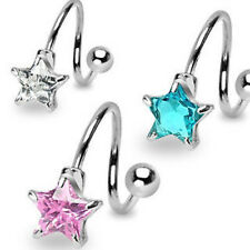 B#194 - 3pc Star Gem Spiral Belly Rings Navel naval 316L Surgical Steel