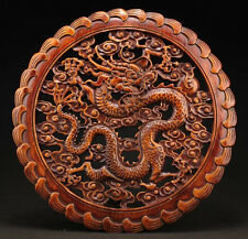 CHINESE HANDWORK DRAGON STATUE CAMPHOR WOOD PLATE WALL SCULPTURE NR