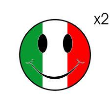 2 Stickers plastifiés SMILEY Ducati Italia Guzzi Aprilia Vespa - 6cm x 6cm