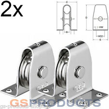 2x HS Sprenger Stainless Steel Stand Up Upright Pulley Block Stainless Wheel