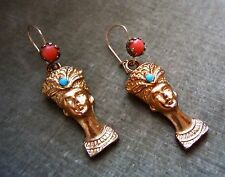 Vintage Egyptian Revival Pharaoh Cleopatra Faux Turquoise Coral Earrings Estate