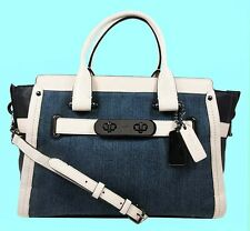 COACH 37731 SWAGGER Soft Denim/Leather Color-Block Satchel Shoulder Bag Msrp$550