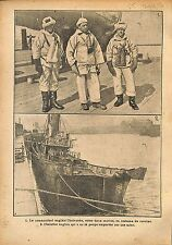 commanding officer Royal Navy Trawler England Mine War WWI 1917 ILLUSTRATION