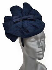 Navy - Derby, Preakness, Church, Dress, Wedding- Satin/Lace Fascinator