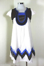 See By CHLOE Knitted Aztec Babydoll Dress Brown Blue Cream  Small 2 3 4 36