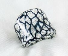 Genuine Murano Glass Ring Made Italy 925 Sterliing Silver In Glass Size 5.5 $118