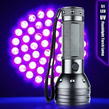 51 LED Bulbs Ultra Violet Brightness Black 395-410nm Flashlight Torch Lamp