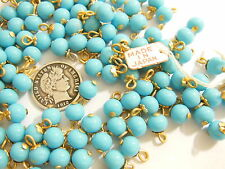 12 VINTAGE JAPANESE BRASS EYE PIN BEADED CHARMS TURQUOISE 6MM