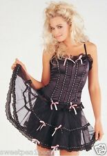 CLASSIFIED BLACK & PINK BASQUE & SKIRT TUTU SET SIZE 34 7830