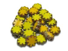 9mm Opaque Yellow Picasso Czech Glass Table Cut Daisy Flower Beads (10) #5576