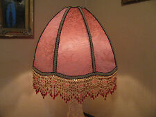 "Victorian French EX Large Floor or Table Lamp Shade ""Pink""  Bead Fringe"