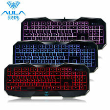 3 Colors LED Illuminated Ergonomic USB Backlight Backlit Wired Gaming Keyboard