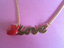 Brand New Vintage Gold Love Red Heart Necklace Romantic Ideal Gift Wife