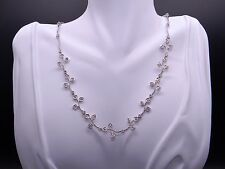 18k White Gold 1.50ct Round Cut Diamond Tennis Heart Bezel Leaf Necklace 17""